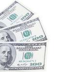 Three 100 dollars greenbacks — Stock Photo