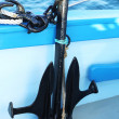 Anchor on board a pleasure craft. Close up. — Stock Photo #27706405