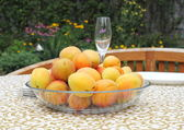 Apricots in a bowl on the table. — Stock Photo