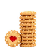 Stack of heart biscuits. — Stock Photo