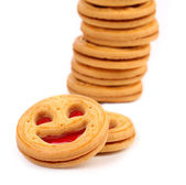 Stack of smile biscuits. Close up. — Stock Photo