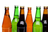 Bottlenecks. Bottles of beer. Close up. — Stock Photo