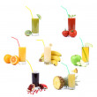 Collage. Glasses of juice. Different fruit — Stock Photo