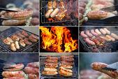 Collage ob bbq sausage. — Stock Photo