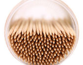 Toothpicks in a round box, top view — Stock Photo
