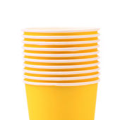 Pile of colorful paper coffee cup. Close up. — Stock Photo