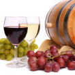 Stock Photo: Grape on barrel, glasses of wine
