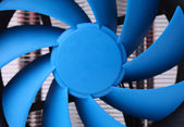 Blue computer fan for PC case. — Stock Photo