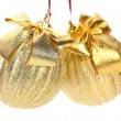 Two golden balls for the Christmas tree. — Stock Photo