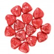 Red chocolate hearts candies on white — Stockfoto