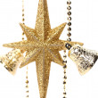 Golden christmas star and bells. — Stock Photo #30139999