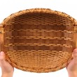 Vintage weave wicker basket — Stock Photo