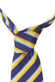 Knot of tie a colorful striped. — Stock Photo