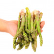 Fresh green asparagus on hand. — Stock Photo