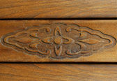 Ornament on old wooden furniture. — Stock Photo
