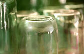 Grooved bottom of glass jar. — Stock Photo