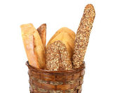 Various types of bread in a basket. — Stock Photo