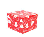 White hearts on red gift box. — Stock Photo