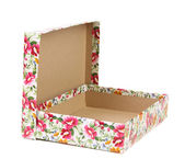 Open box with flowers print for a present. — Stock Photo