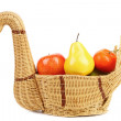 Basket swan with decorative fruits. — Stock Photo