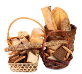Composition of breads and baskets. — Stock Photo
