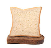 Sailboat made of white and brown bread. — Stock Photo