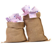 Two bags with many euro banknotes — Stock Photo