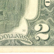 Fragment of two dollars bill. — Stock Photo
