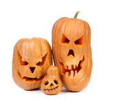 Family of pumpkins halloween Jack O'Lantern. — Stock Photo