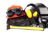 Hammer and protective gear for worker. — Stock Photo