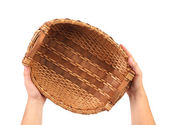 Hand holds vintage weave wicker basket — Stock Photo
