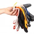 Hand holds protective different gloves — Stock Photo