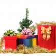 Christmas tree with present boxes. — Stock Photo