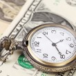 Pocket watch with financial assets. — Stock Photo