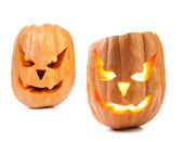 Scary pumpkin head jack lantern with evil faces. — Stock Photo