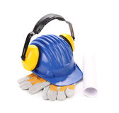 Ear muffs on hard hat and gloves. — Stock Photo