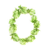 Hop flowers as letter O. — Stock Photo
