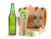 Barrel mug with barley hop. — Stock Photo