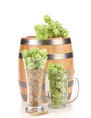Barrel and two mug with barley hop. — Stock Photo