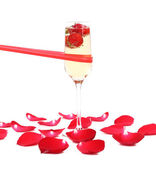 Strawberry and champagne glasse — Stock Photo