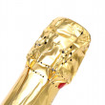 Golden bottleneck of champange. — Stock Photo