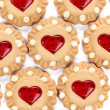 Heart shaped strawberry biscuit. — Stock Photo
