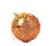 Golden dull christmas balls and beads. — Stock Photo