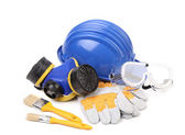 Blue hard head gloves and tools — Stock Photo