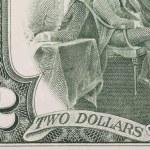 Close up of 2 dollar bill. — Stock Photo #34098975