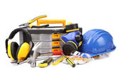 Set of tools and instruments with toolbox — Stock Photo