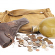 Gun backpack for soldiers flask and some coins. — Foto de Stock