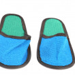 Close up of bright blue slippers. — Stock Photo