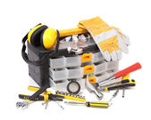 Plastic workbox with assorted tools. — Stock Photo