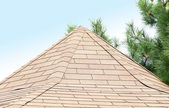 New roof covered with tiles. — Stock Photo